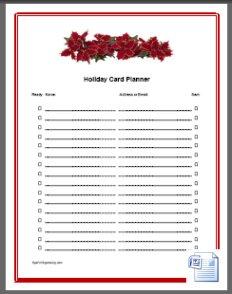 Holiday Card List Template  Christmas Card List Template